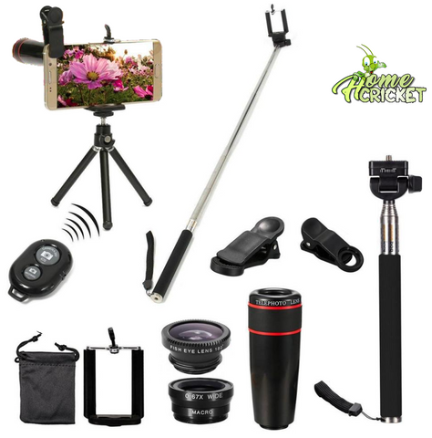 All in 1 Accessories Smart Phone Camera Lens, Tripod, Travel Kit