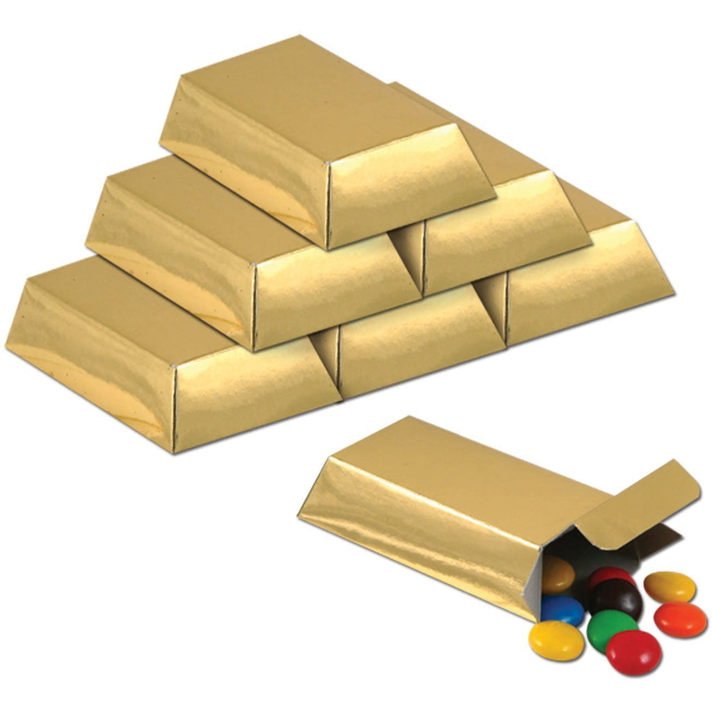 Foil Gold Bar Favor Boxes Party Accessory (pkg of 3) 12/Pkg For Party Bag Favors