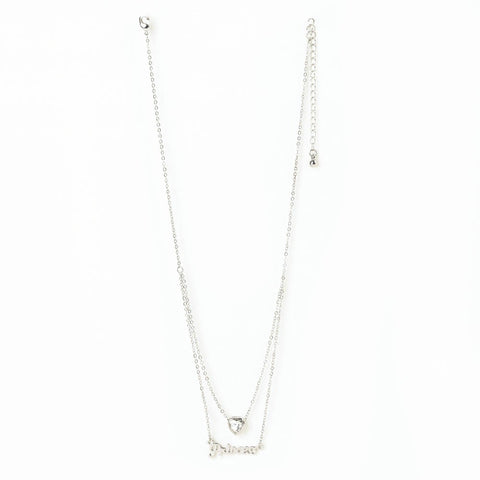 Princess and Heart Double-Chain Necklace