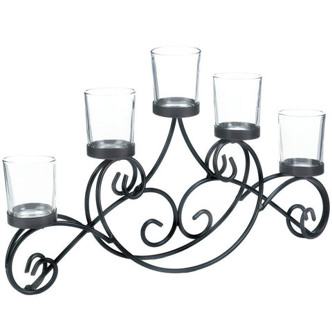 Iron Swirls Five-Candle Stand