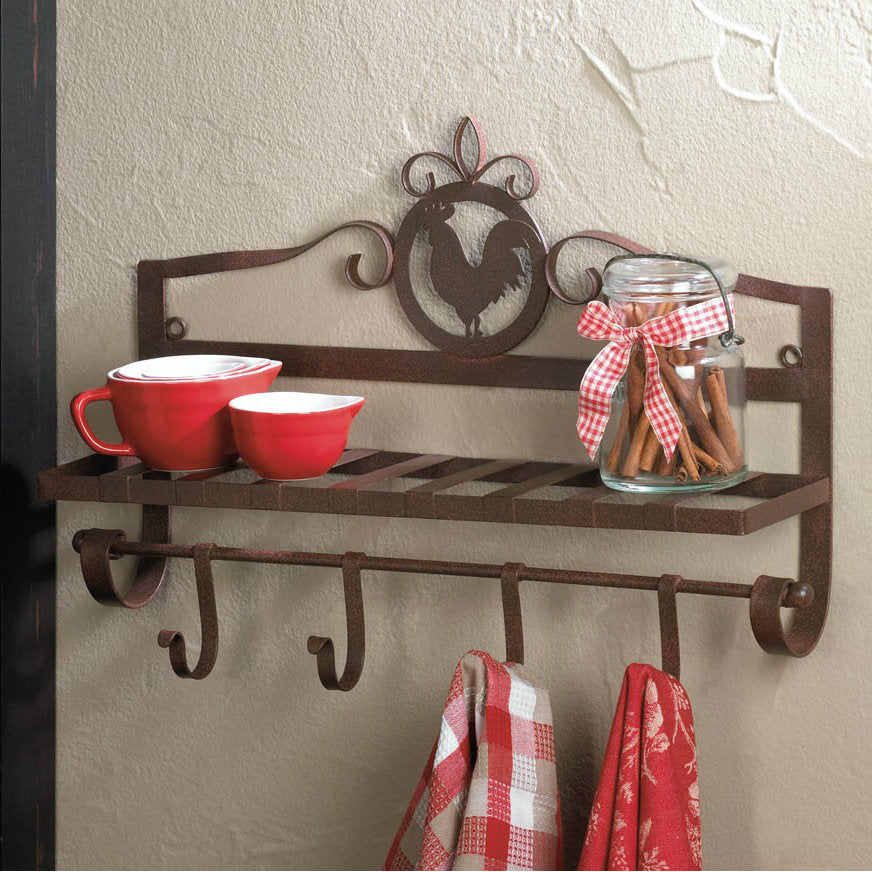 Rooster Silhouette Metal Wall Rack with Hooks