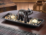 Carved Elephant River Rock Candle Set