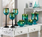 Glass Peacock Pedestal Candle Holder
