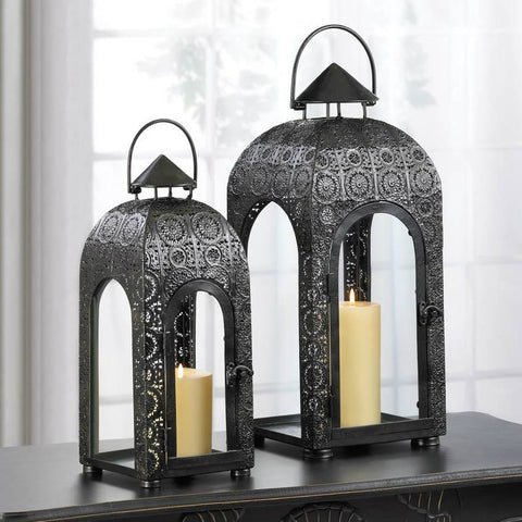 Arched Small Black Medallion Lantern