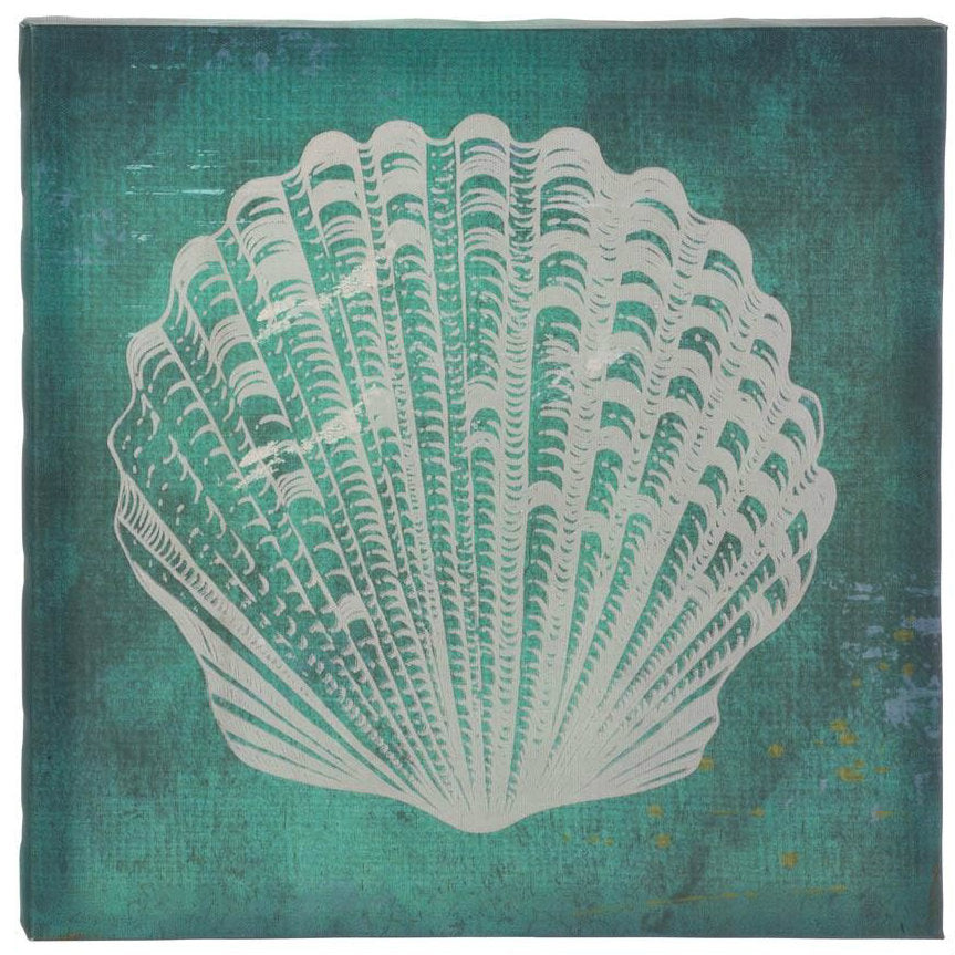 White Seashell Blue-Green Canvas Wall Art