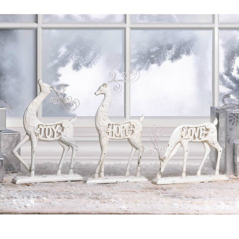 Distressed White Reindeer - Love