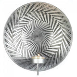 Silver Sconce with Geometric Lines and Swirls