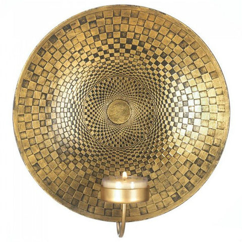 Golden Checkered Geometric Wall Sconce