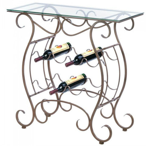 Scrolled Glass-Top Wine Rack Table