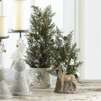 Snowy Pine Tree Topiary with Deer - 13 inches
