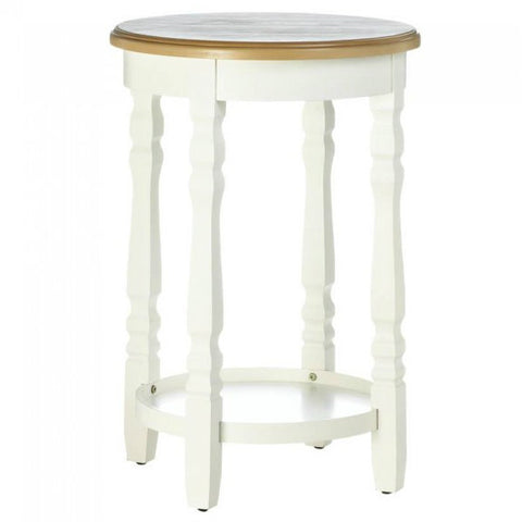 Wood Top Round Accent Table