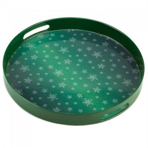 Green Snowflake Serving Tray