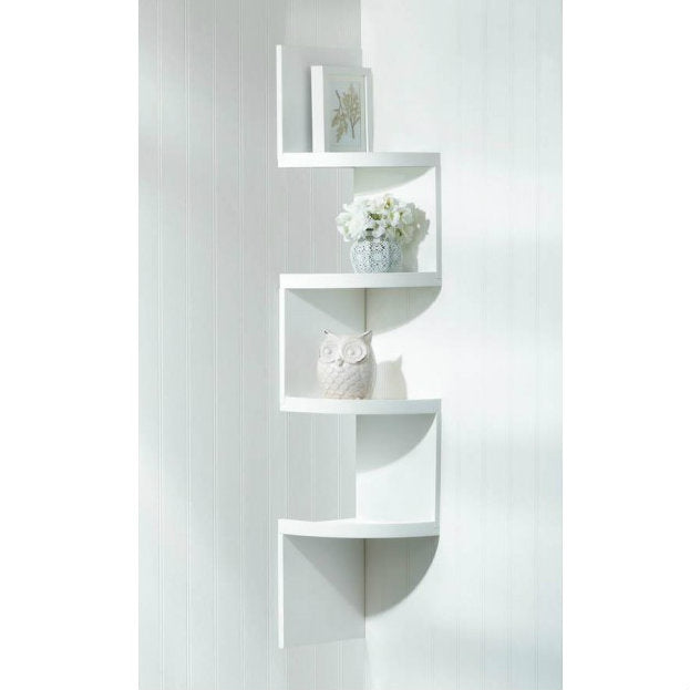 White 4-Tier Corner Shelf
