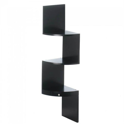 3-Tier Black Corner Shelf With Drawer