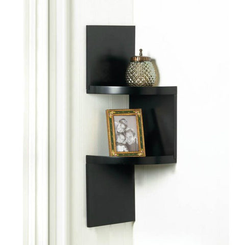 Zig Zag 2-Tier Corner Wall Shelf - Black