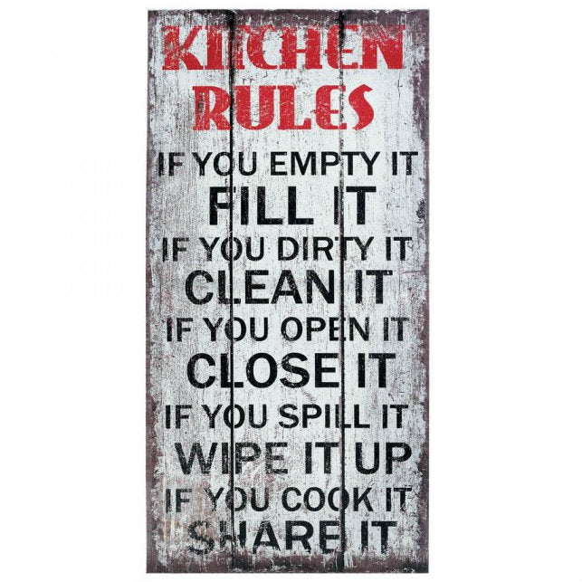 Kitchen Rules Canvas Wall Art