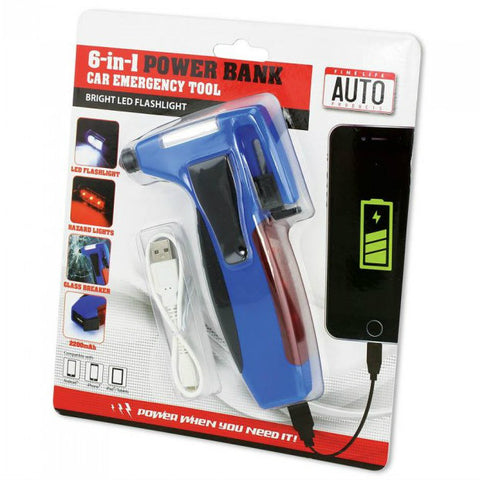 6 In 1 Car Emergency Tool W/Power Bank