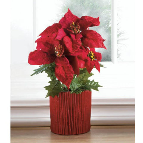 Poinsettia in Wood-Look Red Base - 15.5 inches