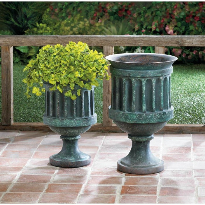 Weathered Pedestal Planter