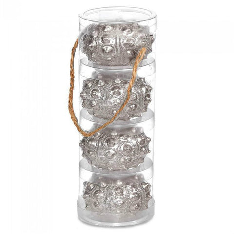 Silver Sea Urchin Candle Set Of 4