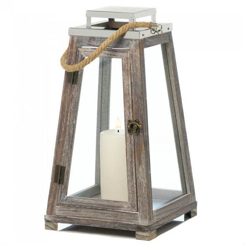 Large Pyramid Wooden Lantern With Rope