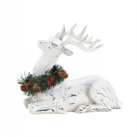Blitzen With Wreath Figurine