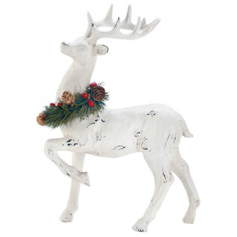 Distressed-Look Reindeer with Wreath - Prancer