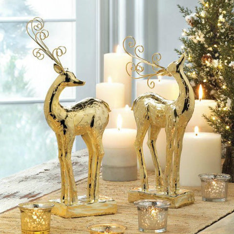 Golden Christmas Reindeer Statue - Dancer