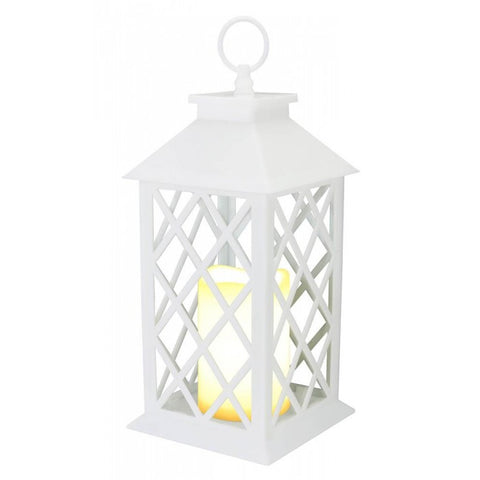 White Criss Cross Led Candle Lantern