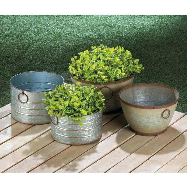 Tapered Galvanized Planters