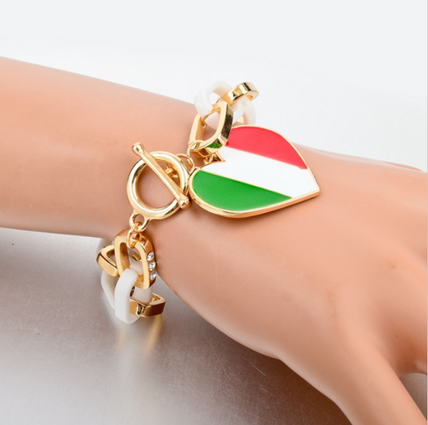 Italian Flag Heart Charm Bracelets For Women
