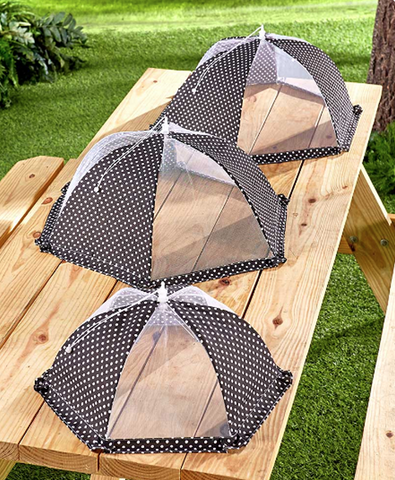 Mesh Food Covers For Picnics & Outdoor Parties 3 Tents Black and White
