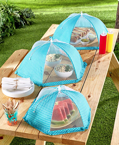 Mesh Food Covers For Picnics & Outdoor Parties 3 Tents Blue & White