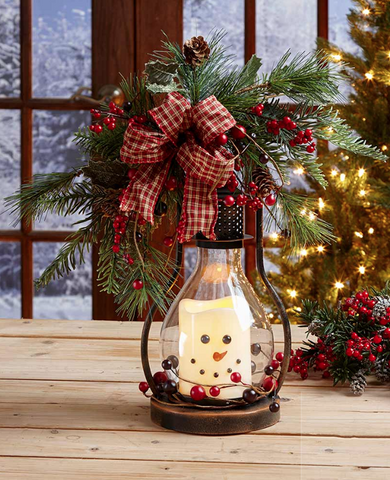 Winter Christmas Seasonal Snowman LED Candle Lantern
