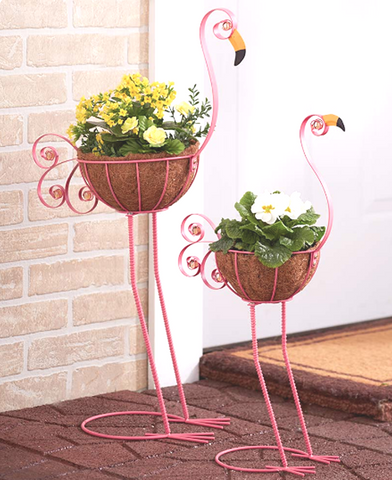 2 Metal Flamingo Outdoor Garden Bird Planter Holder