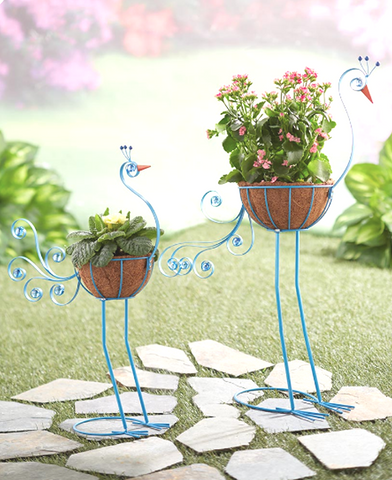 2 Metal Peacock Outdoor Garden Bird Planter Holder