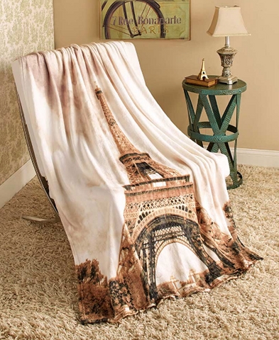 Comfortable Soft Warm Paris Plush Throw Blanket