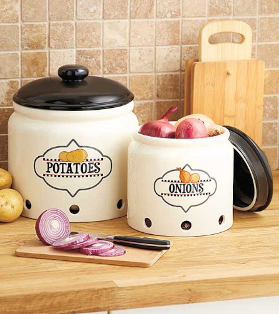 Kitchen Organization Potato & Onion Crock Storage Jar Holder Set