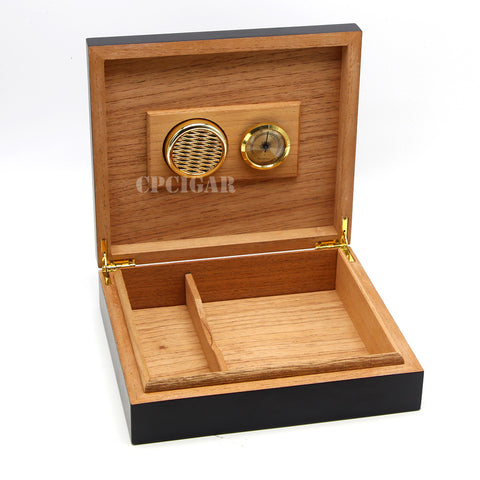 Spanish Cedar Wood Lined Travel Wood Cigar Humidors Box with Hygrometer Humidifier