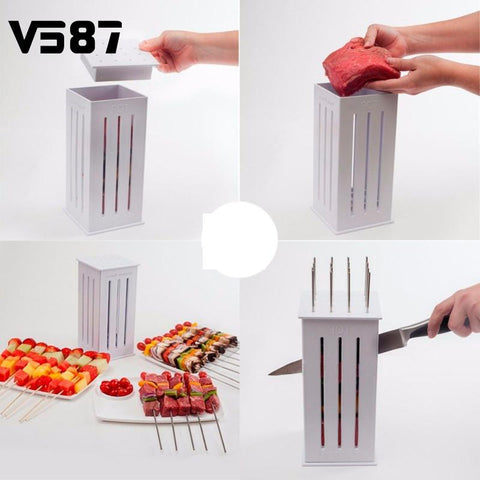 BBQ Kebab Maker Box Machine with 32 Bamboo Skewers