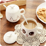 Cartoon Cute Expression Cups Ceramic Mugs With Handle Lid And Spoon