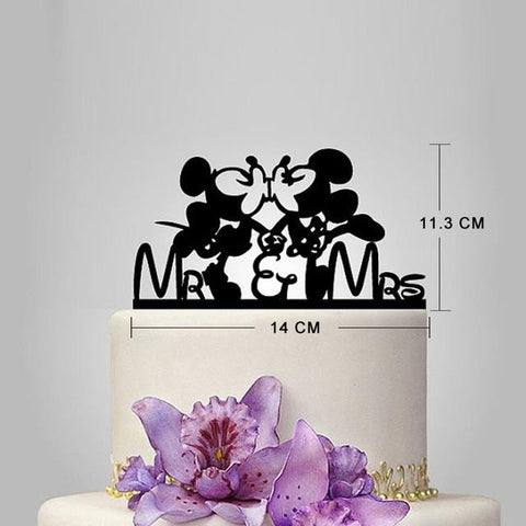 Wedding Decoration Cake Toppers Acrylic Black Party Favors