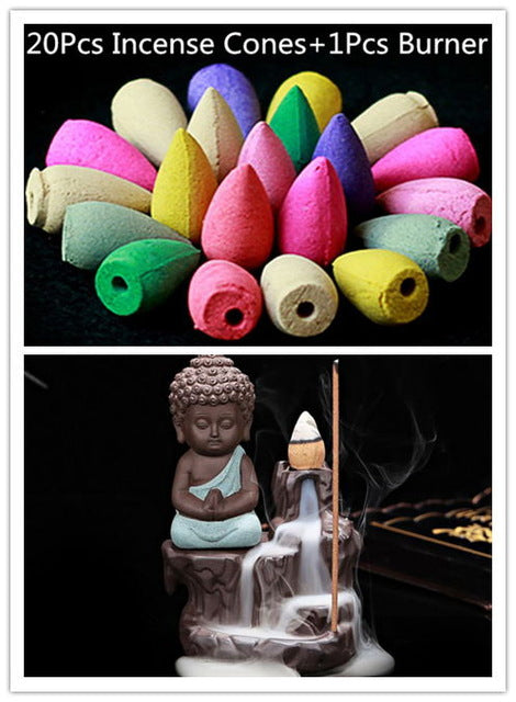 Little Monk Small Buddha Incense Burner + 20Pc Incense Cones