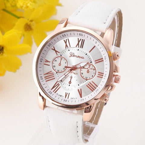 Platinum Women's Leather Wristwatch Casual Dress Ladies Watch