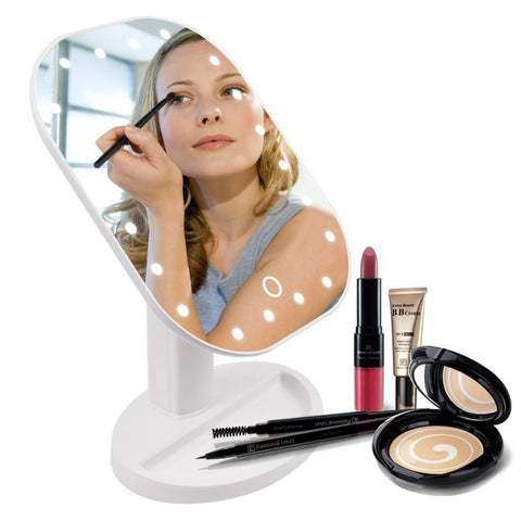 Touch Screen Make Up Mirror With LED Lights & 180 Degree Rotation