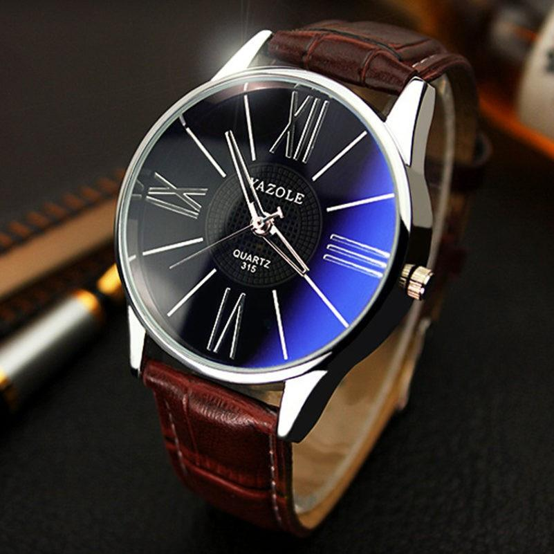 Mens Luxury Quartz Sports Watch Casual Fashion Leather Wristwatch
