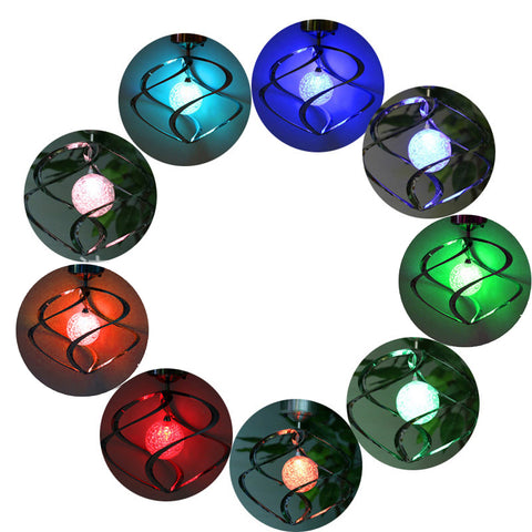 Solar Powered LED Spiral Wind Spinner Garden Decoration