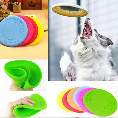 Pet Dog Flying Disc Tooth Resistant Training Toy Play Frisbee