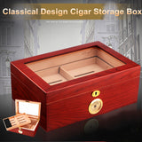 Red Cigar Humidifier Box Classic Wood Storage Cigar Collection Case