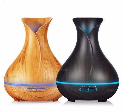 LED Ultrasonic Air Aroma Essential Oil Diffuser with Wood Grain